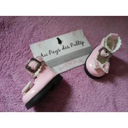 Chaussure lolita rose petit noeud et tour de cheville