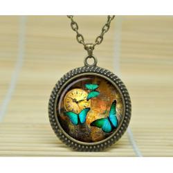 collier pendantif steampunk papillon